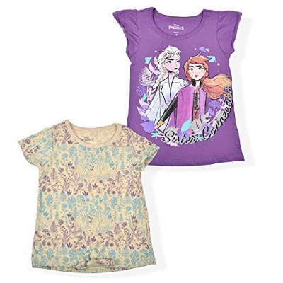 Disney Girl's 2-Pack Princess Elsa and Anna Frozen Short Sleeve Tee and Front Tie Shirt Set for Kids