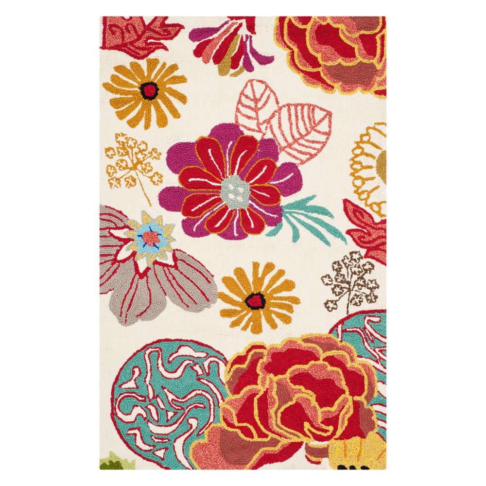 2'6X4' Floral Accent Rug Ivory/Red - Safavieh, White