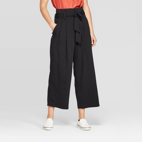 Women's Mid-Rise Wide Leg Paperbag Cropped Pants - A New Day™ - image 1 of 3
