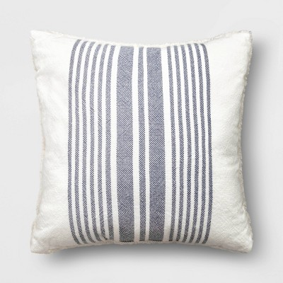 "18""x18"" Woven Striped Square Throw Pillow Navy/Cream"