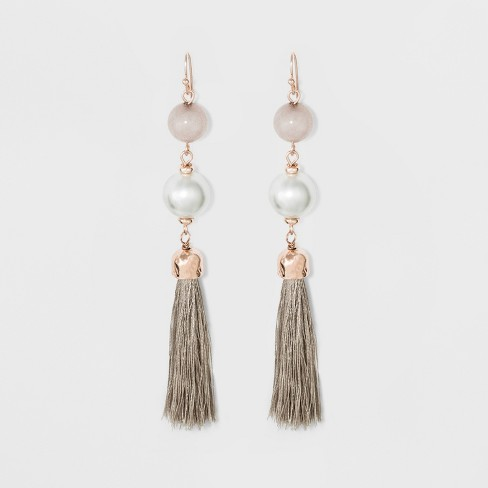 Two Beads and Small Tassel Earrings - A New Day™ - image 1 of 2