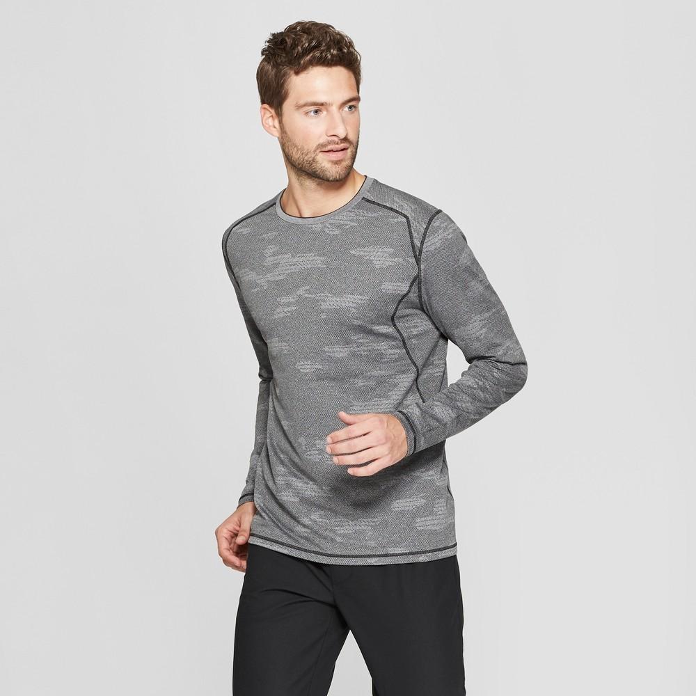 Men's Long Sleeve Camo Print Jacquard T-Shirt - C9 Champion Asphalt Grey Heather L
