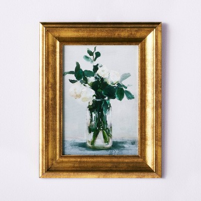 "11"" x 14"" Floral Arrangement Framed Wall Canvas Gold/White - Threshold™ designed with Studio McGee"