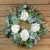Northlight Peony and Geranium Twig Artificial Floral Wreath, White 24-Inch - image 3 of 3