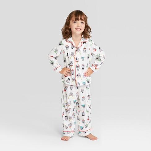 Toddler Holiday Festive Dogs Notch Collar Pajama Set - Wondershop™ White 976951a96
