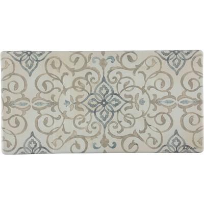 "39"" x 20"" PVC Rustic Medallion Anti-Fatigue Kitchen Floor Mat Cream - J&V Textiles"