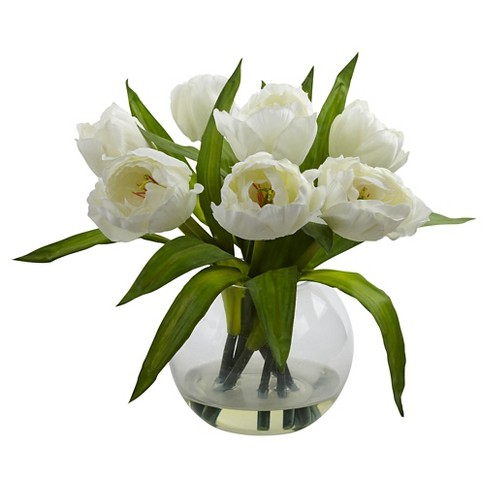 Nearly Natural Tulips Arrangement With Vase White Target