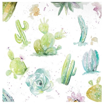 4pk Ceramic Watercolor Cacti and Succulent Print Coasters - Thirstystone
