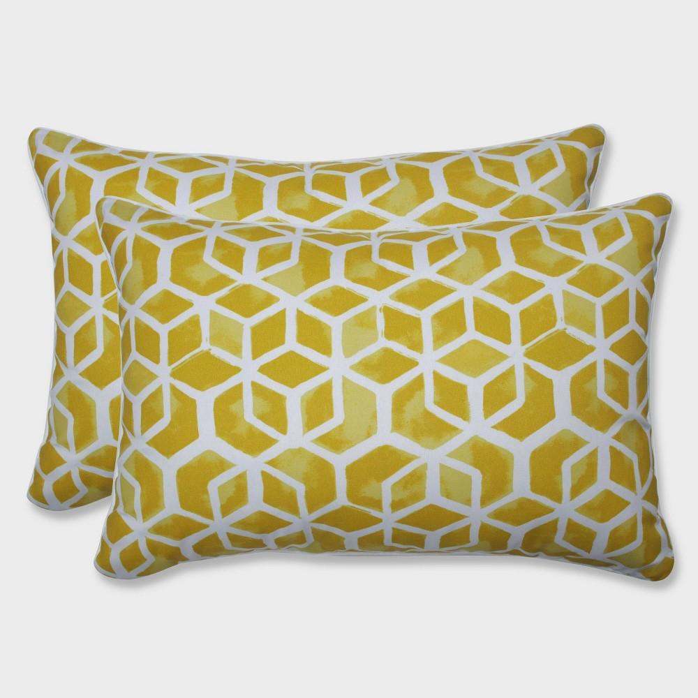 2pk Oversize Celtic Pineapple Rectangular Throw Pillows Yellow - Pillow Perfect