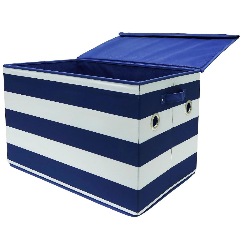 Large Stripe Toy Storage Bin Navy & White - Pillowfort