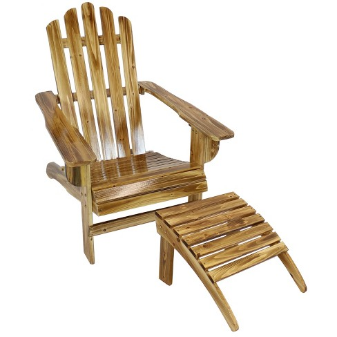 Rustic Wooden Adirondack Chair with Ottoman Outdoor Furniture Set -  Sunnydaze Decor