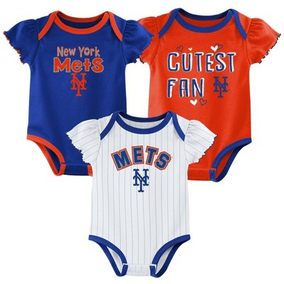 MLB New York Mets Baby Girls' 3pk Bodysuit Set