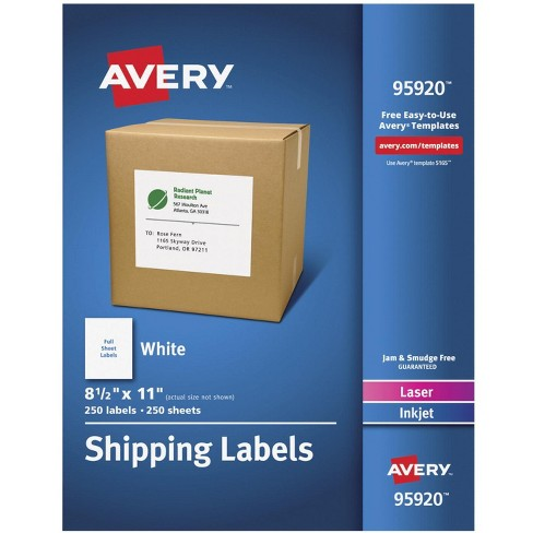 Avery 95920 Shipping Labels, 8-1/2 x 11 Inches, White, pk of 250 - image 1 of 3