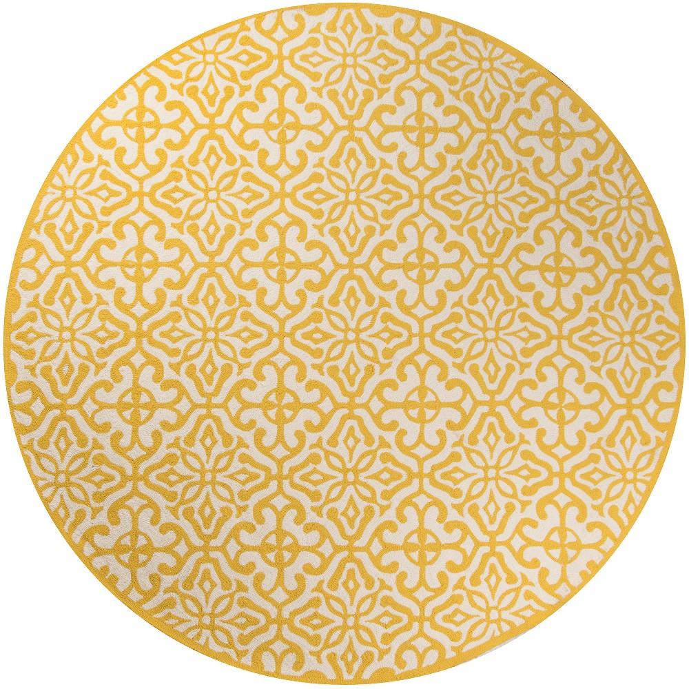 9'X9' Geometric Hooked Round Area Rug Yellow - Momeni