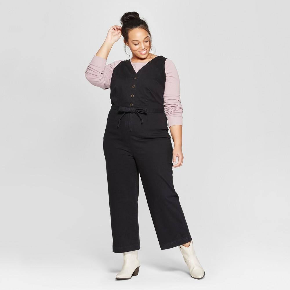 Best Sale Women Plus Size Button Front Jumpsuit With Belt Universal Thread Black 18W