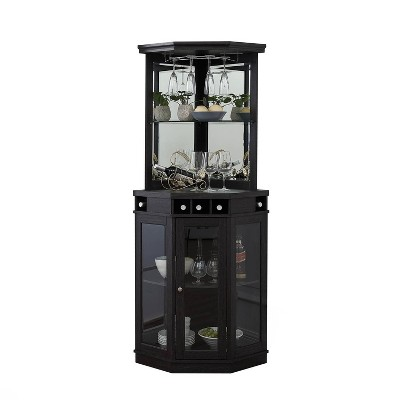 Corner Bar Unit with Glass Doors - Home Source