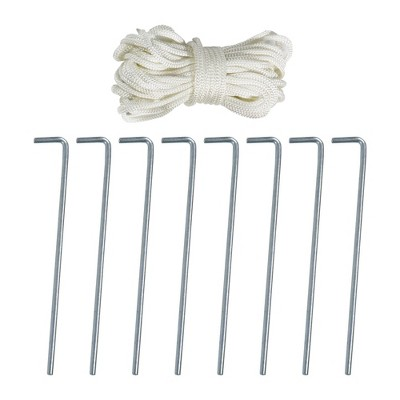 Beau Galvanized Steel Tent Pegs And Rope Set   8 Heavy Duty Garden Stakes And 4  Nylon Ropes   Sunnydaze Decor