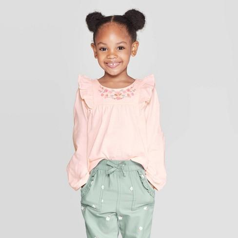 OshKosh B'gosh Toddler Girls' Ruffle Long Sleeve Blouse - Peach - image 1 of 3