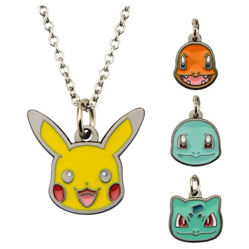 "Pokémon™ Character 4 to a pack Enamel Interchangeable Pendant with Chain (18"" + 2"" ext.) - image 1 of 1"