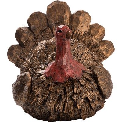 Transpac Resin 11 in. Brown Harvest Chiseled Turkey