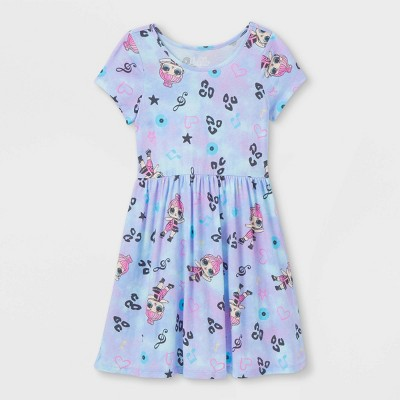 Girls' L.O.L. Surprise! Skater Dress - Purple/Blue