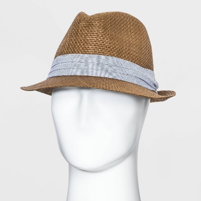 Men's Fedora Straw Hat with Chambray Band - Goodfellow & Co™ Brown M/L