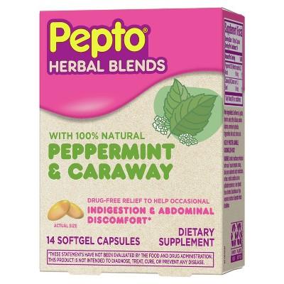 Pepto-Bismol Herbal Blends Softgel - Peppermint & Caraway - 14ct