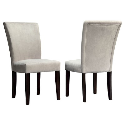 Set of 2 Amity Parson Dining Chair Wood Silver Chenille - Inspire Q
