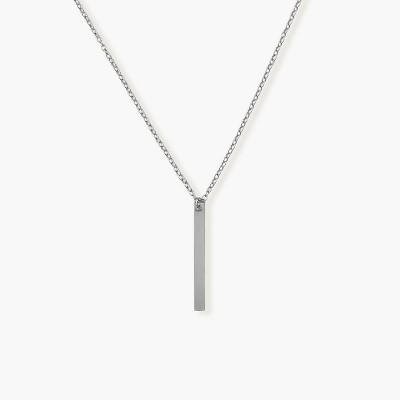 Sanctuary Project Thin Bar Drop Pendant Necklace Silver