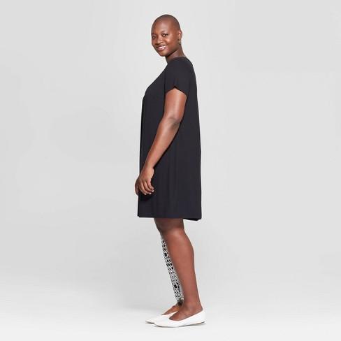 Women\'s Plus Size Short Sleeve Crewneck T-Shirt Dress - Ava & Viv™ Black 3X