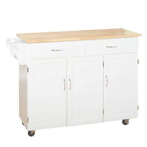 Extra Large Kitchen Cart With Wood Top White Buylateral