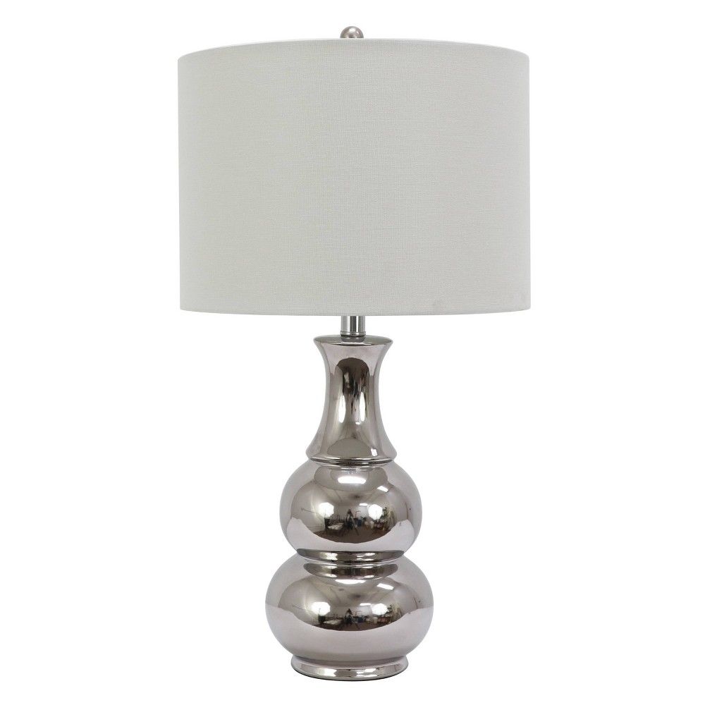 Image of Harper Ceramic Table Lamp Silver (Includes Energy Efficient Light Bulb) - Decor Therapy