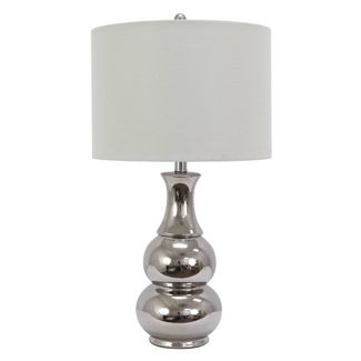 Harper Ceramic Table Lamp Silver (Includes Energy Efficient Light Bulb) - Decor Therapy