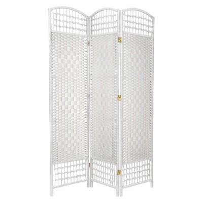 5 1/2 ft. Tall Fiber Weave Room Divider - White (3 Panels)