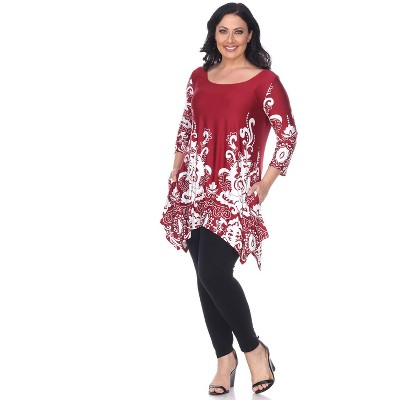 Women's Plus Size Scoop Neck Printed Yanette Tunic Top - White Mark