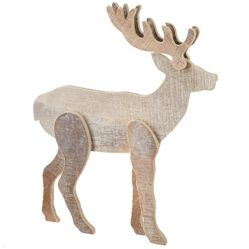 "Diva At Home 10"" Brown and White Two Tone Rustic Reindeer Christmas Decoration - image 1 of 1"
