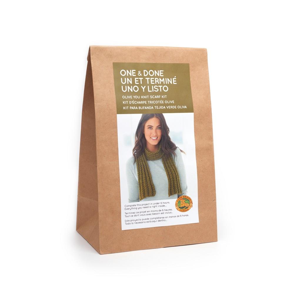 Lion Brand Yarn Kit Knit Scarf - Olive Green