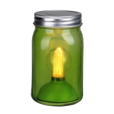 "Roman 6.5"" Battery Operated LED Edison Bulb Vintage-Style Glass Mason Jar Lantern - Green"