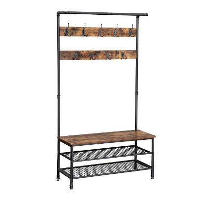 Metal Coat Rack with Wooden Bench and Two Wire Meshed Shelves Brown/Black - Benzara