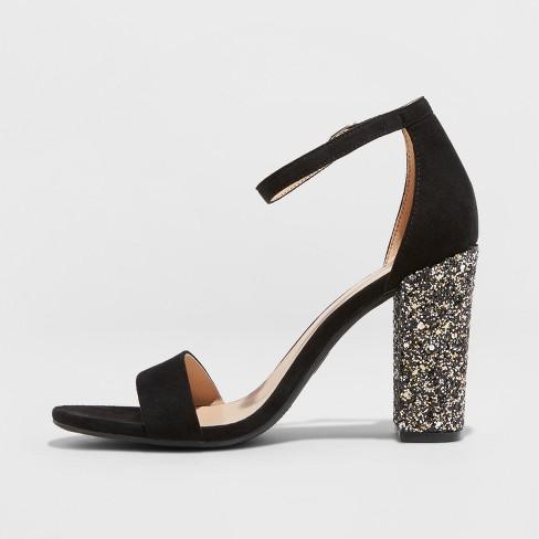 140c7703821 Women s Ema Glitter Satin High Block Heel Pump Sandal - A New Day™   Target