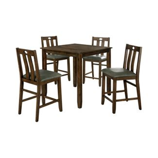 5pc Bourke Counter Height Dining Table Set Walnut/Gray - miBasics
