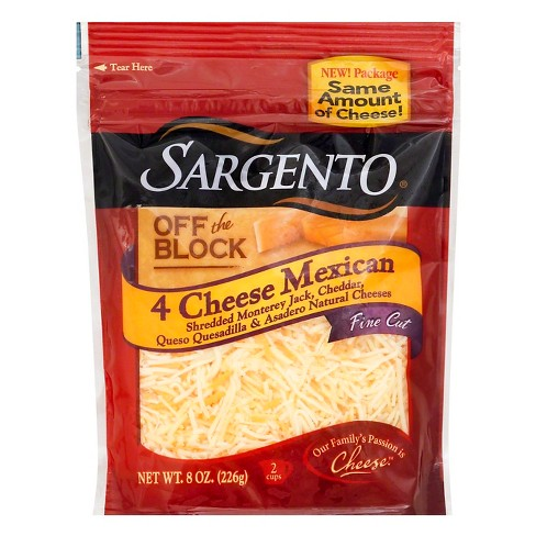 Sargento Off the Block 4 Cheese - Mexican Shredded & Fine Cut - 8oz - image 1 of 2