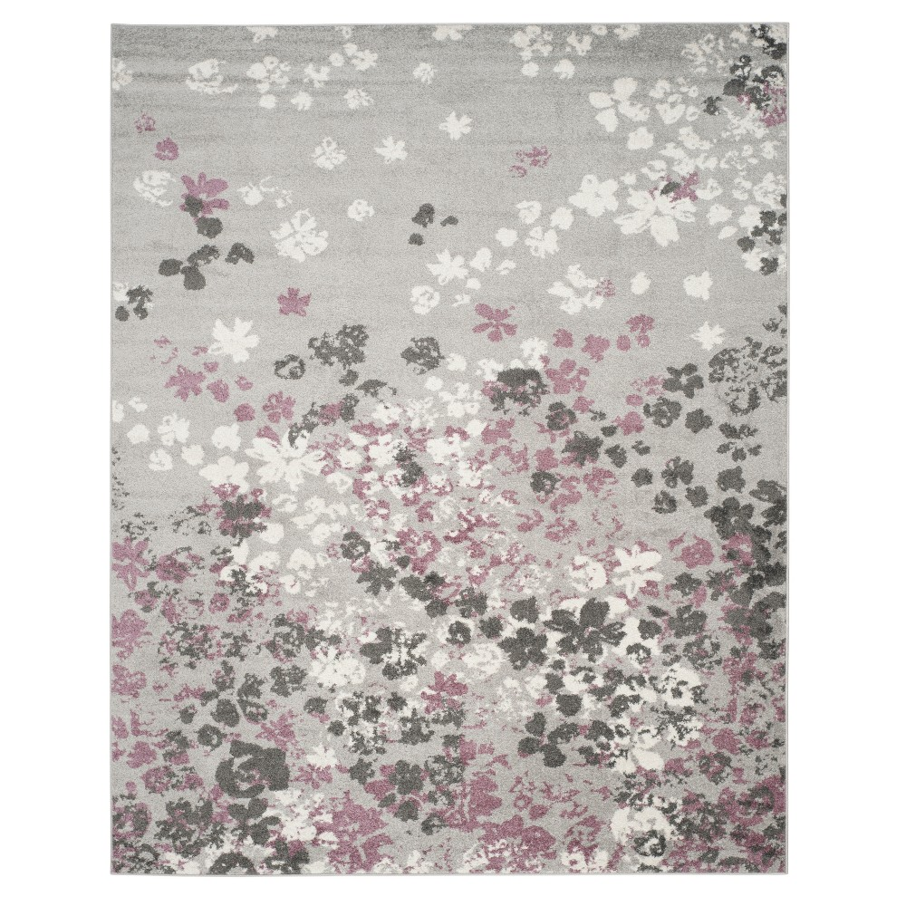 Light Gray/Purple Floral Loomed Area Rug 9'X12' - Safavieh