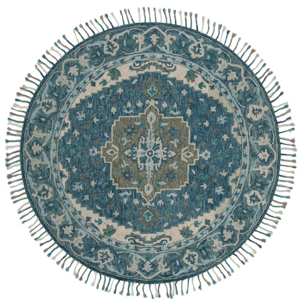 7' Medallion Tufted Round Area Rug Dark Blue/Gray - Safavieh, Gray Blue