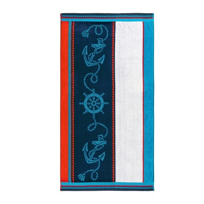 Nautical Anchor and Wheel Cotton 2-Piece Oversized Beach Towel Set by Blue Nile Mills