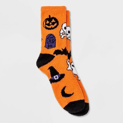 Women's Cozy Halloween Crew Socks - Hyde & EEK! Boutique™ Orange 4-10