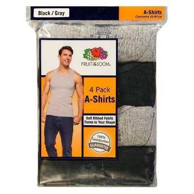 Fruit of the Loom Men's A-Shirts 4-Pack - Black/Gray XXL