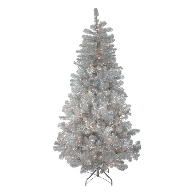 Northlight 4.5' Prelit Artificial Christmas Tree Silver Metallic Tinsel - Clear Lights