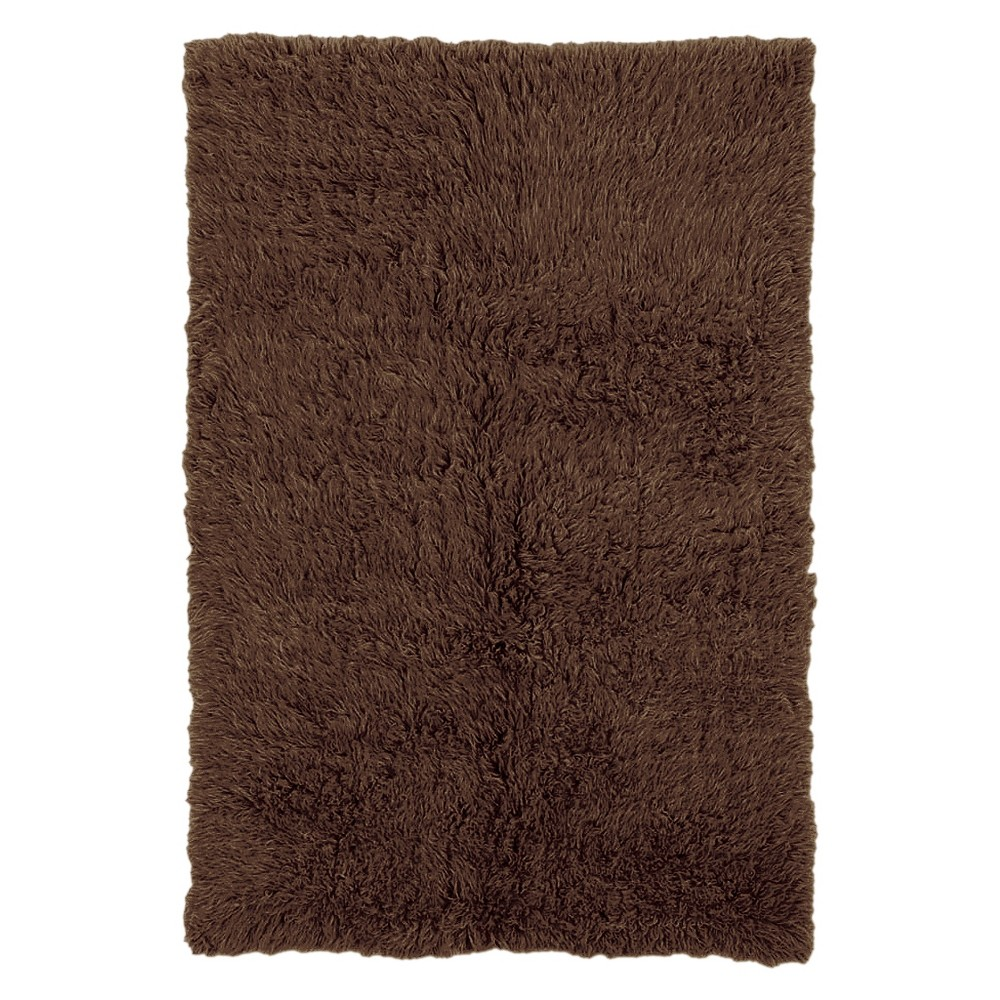 Image of 100% New Zealand Wool Flokati Area Rug - Cocoa (8' Round), Brown