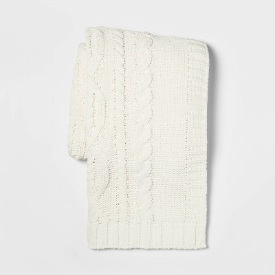Cable Knit Chenille Throw Blanket Cream - Threshold™
